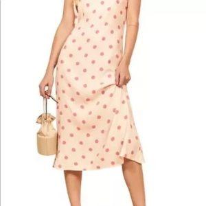 Reformation Jade Dot Print Tie Shoulder Dress